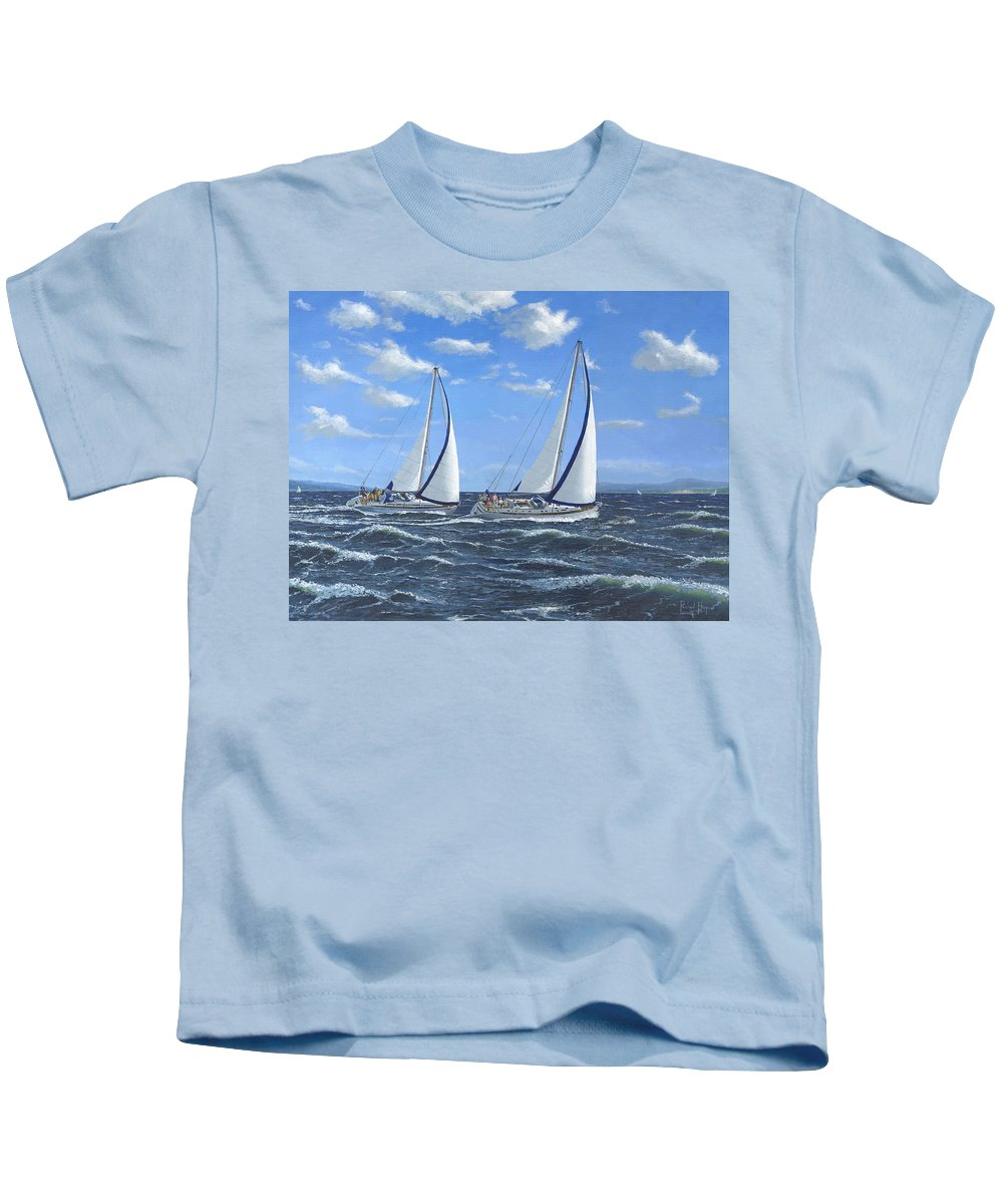 Landscape Kids T-Shirt featuring the painting Running Close Hauled by Richard Harpum