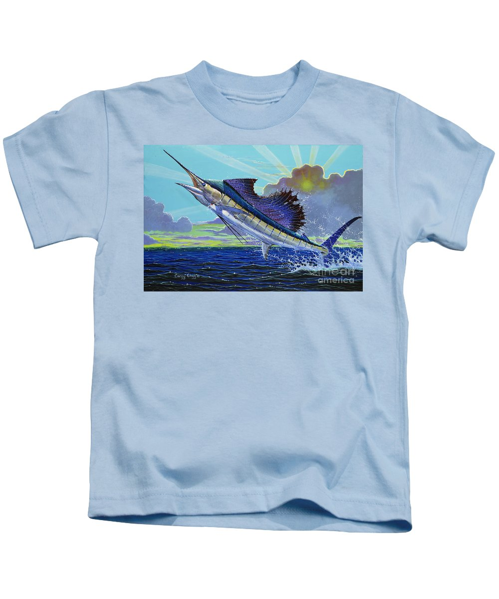 Sailfish Kids T-Shirt featuring the painting Sail Away Off0014 by Carey Chen