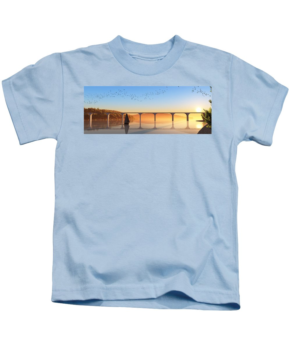 Seascape Kids T-Shirt featuring the digital art Sailing Out To Sea... by Tim Fillingim