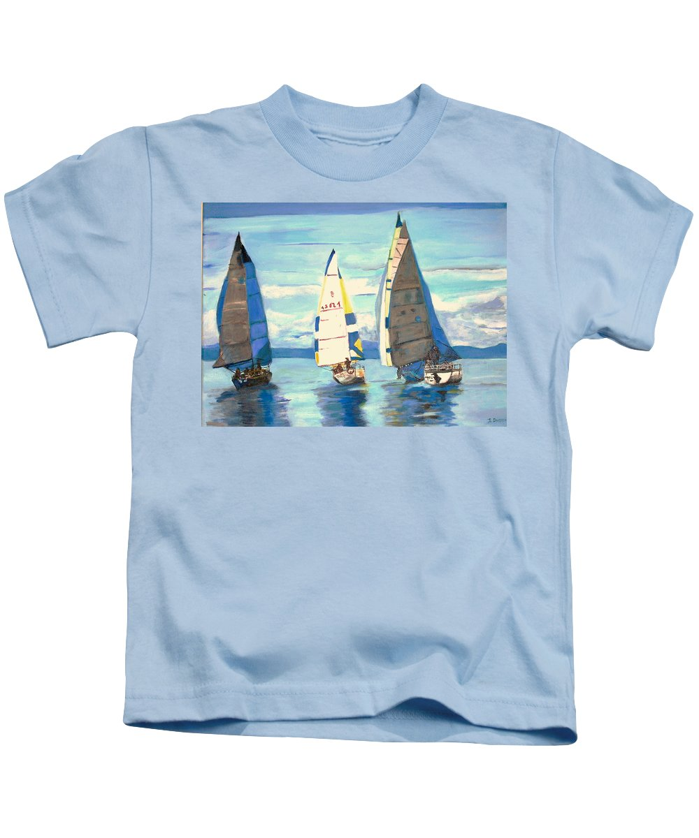 Seascape Kids T-Shirt featuring the painting Sailing Regatta At Port Hardy by Teresa Dominici