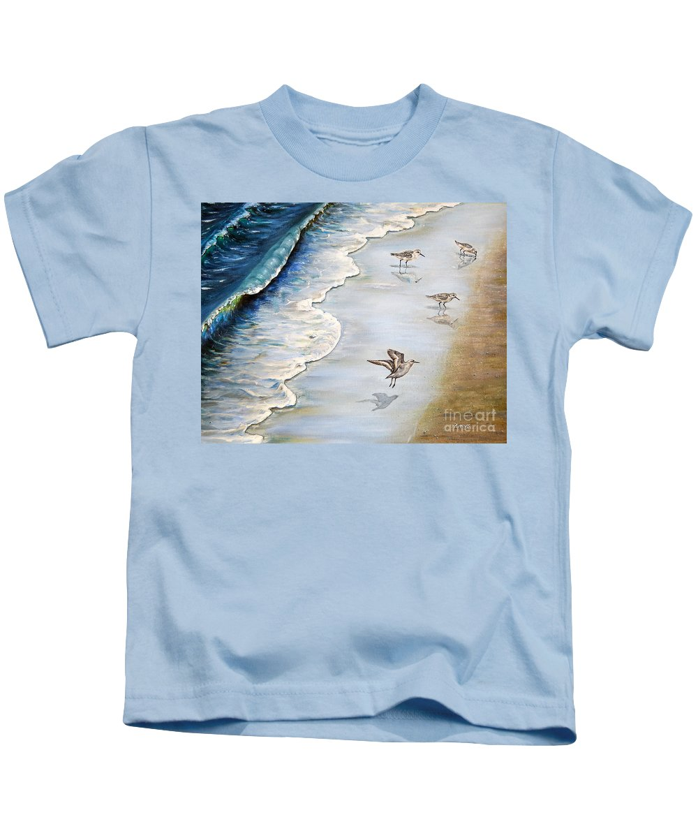 Sanderlings Kids T-Shirt featuring the painting Sandpipers On The Beach by Zina Stromberg
