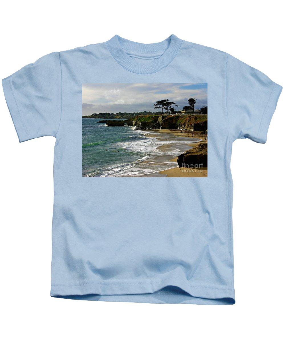 Santa Cruz Kids T-Shirt featuring the photograph Santa Cruz Beach by Carol Groenen