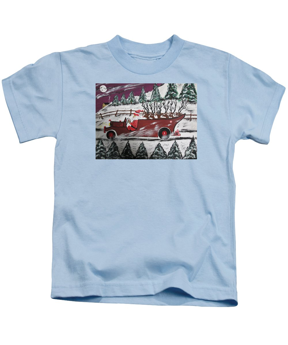 Kids T-Shirt featuring the painting Santa's Truckload by Jeffrey Koss