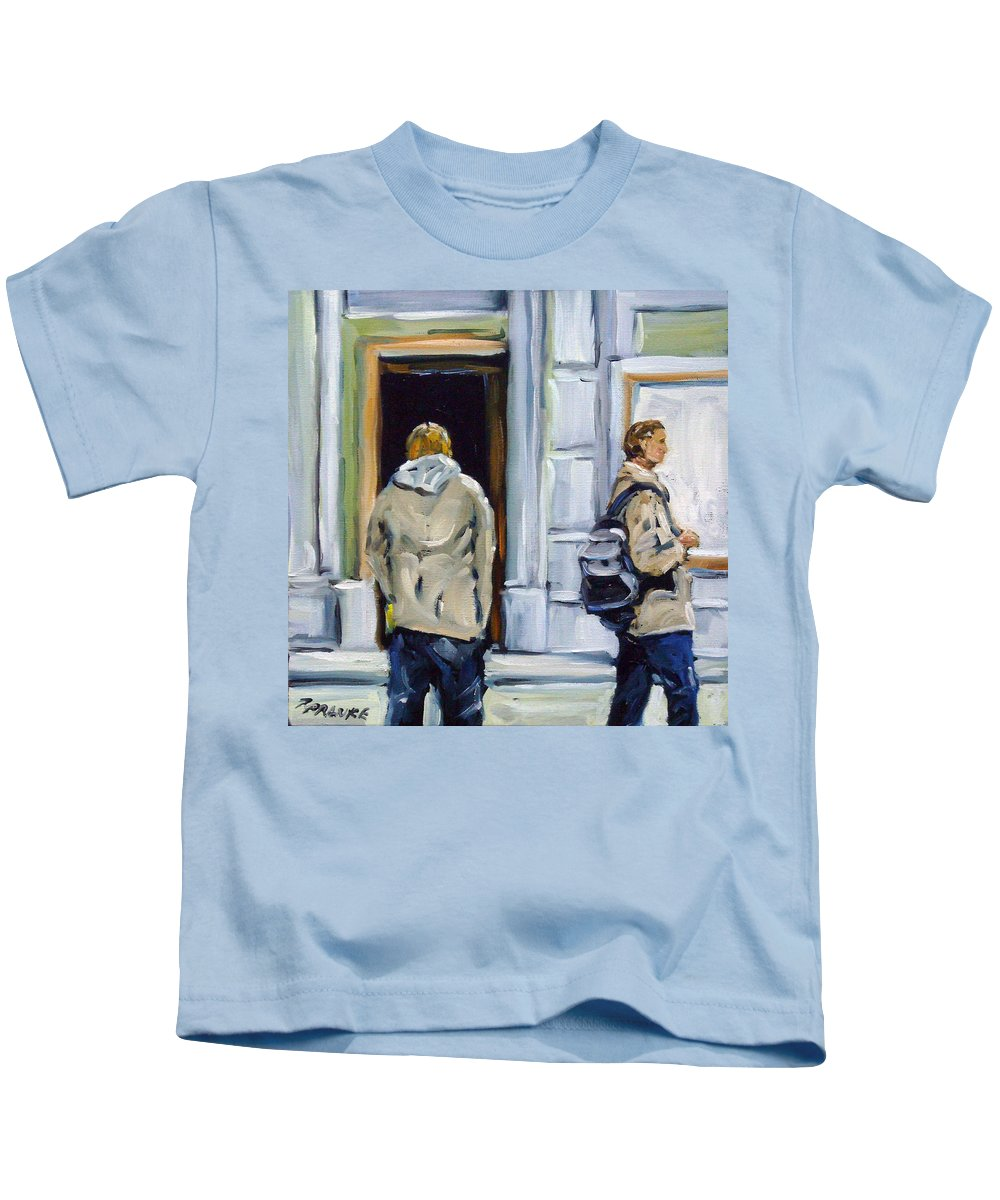 Urban Kids T-Shirt featuring the painting School Days by Richard T Pranke