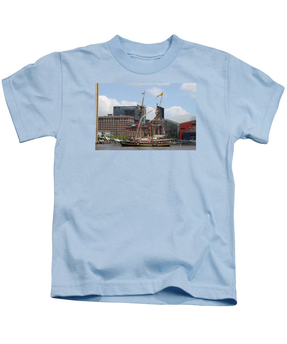 Harbor Kids T-Shirt featuring the photograph Schooner Arriving At Baltimore Inner Harbor by Christiane Schulze Art And Photography