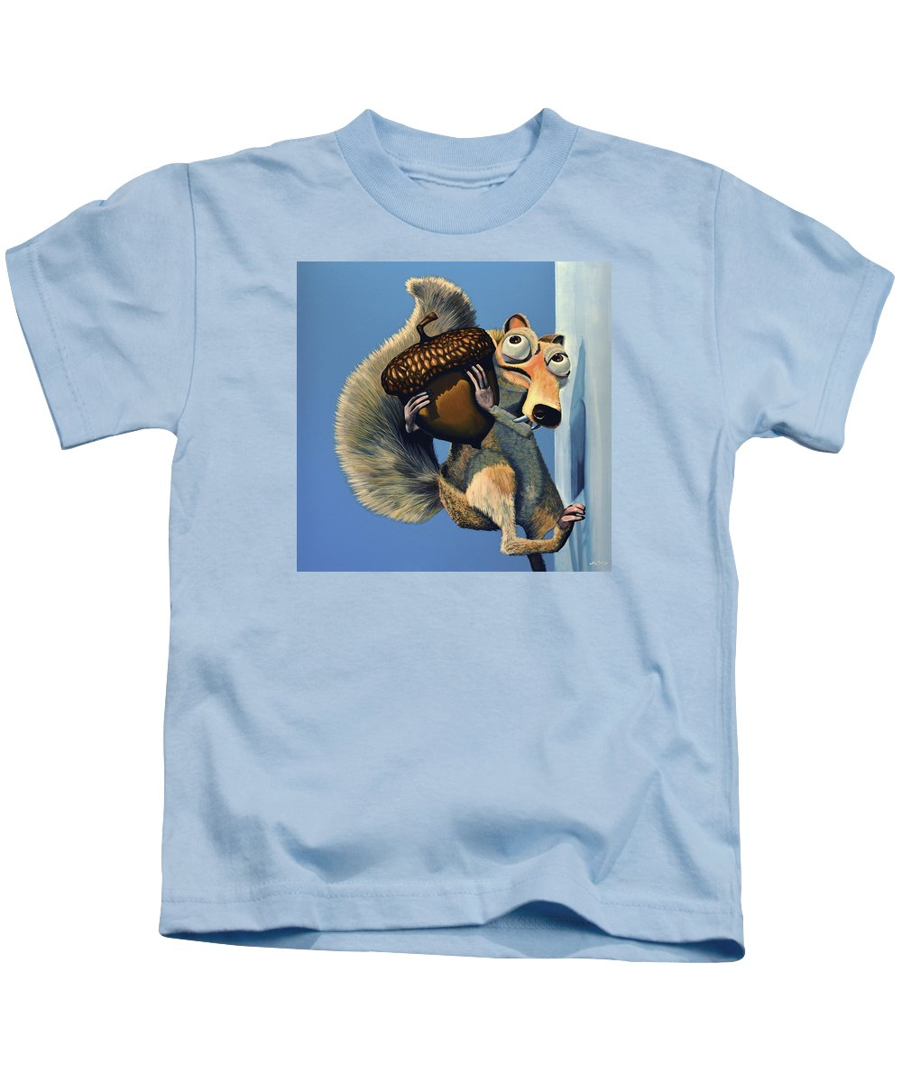 Scrat Kids T-Shirt featuring the painting Scrat of Ice Age by Paul Meijering