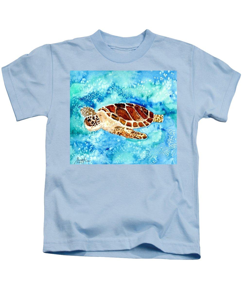 Sea Turtle Kids T-Shirt featuring the painting Sea Turtle by Derek Mccrea