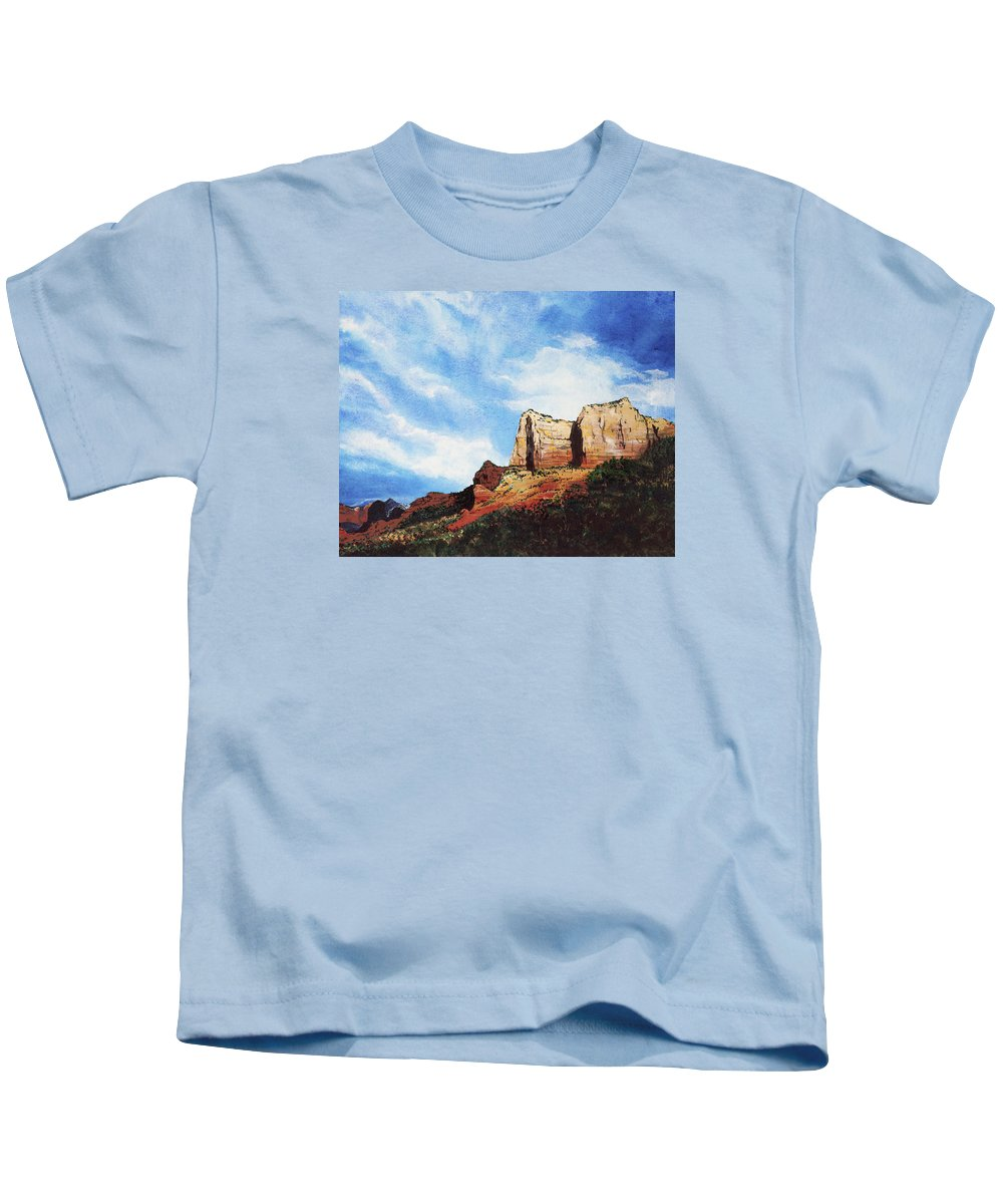 Sedona Arizona Kids T-Shirt featuring the painting Sedona Mountains by Mary Palmer