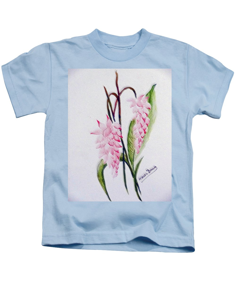Tropical Ginger Kids T-Shirt featuring the painting Shell Ginger by Karin Dawn Kelshall- Best