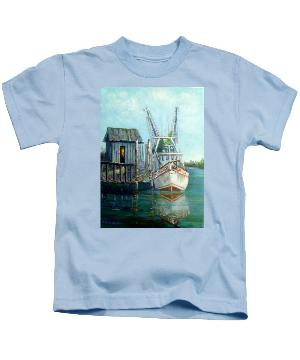 Shrimp Boat Kids T-Shirt featuring the painting Shrimp Boat Paintings by Amber Palomares