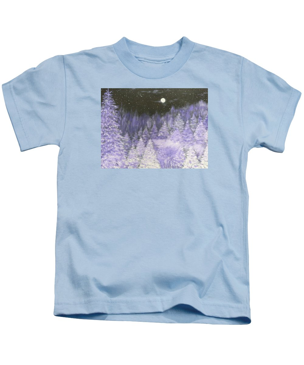 Winter Kids T-Shirt featuring the painting Silver Night by Irina Astley
