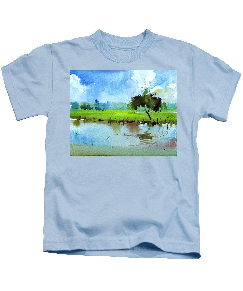 Nature Kids T-Shirt featuring the painting Sky N Farmland by Anil Nene
