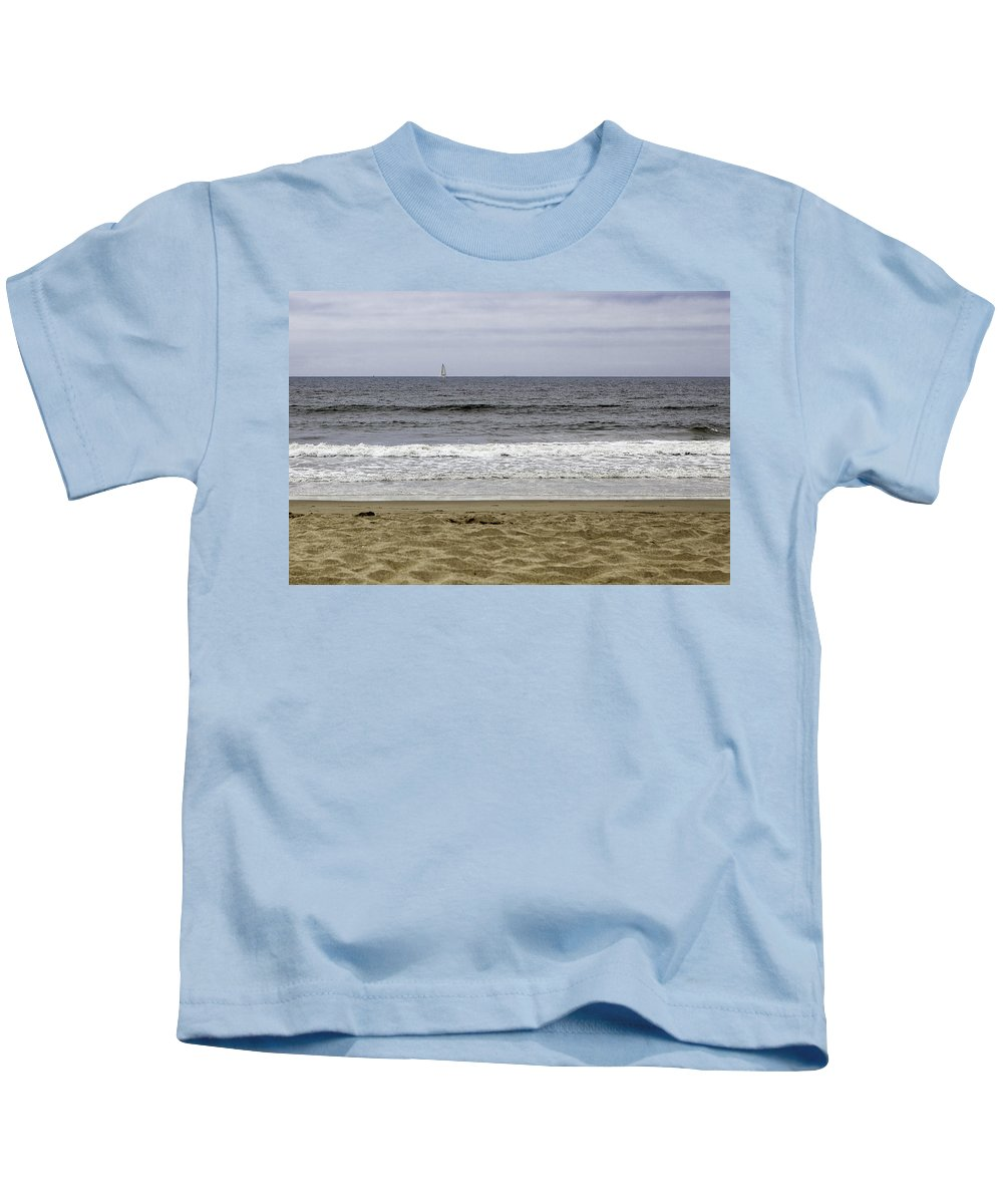 Nature Kids T-Shirt featuring the photograph Sky Sea Surf And Sands by Jiayin Ma