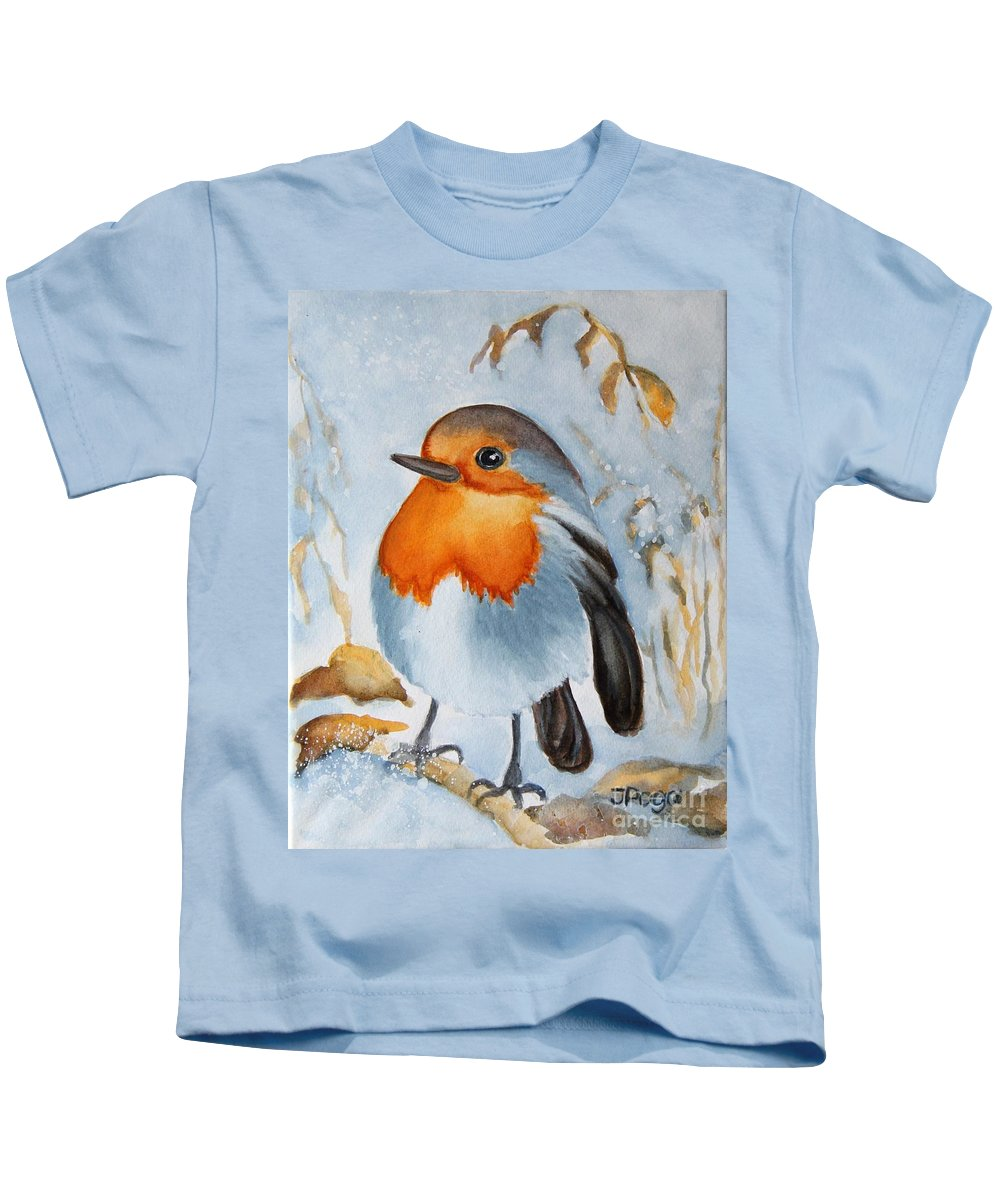Bird Painting Kids T-Shirt featuring the painting Small Bird by Inese Poga