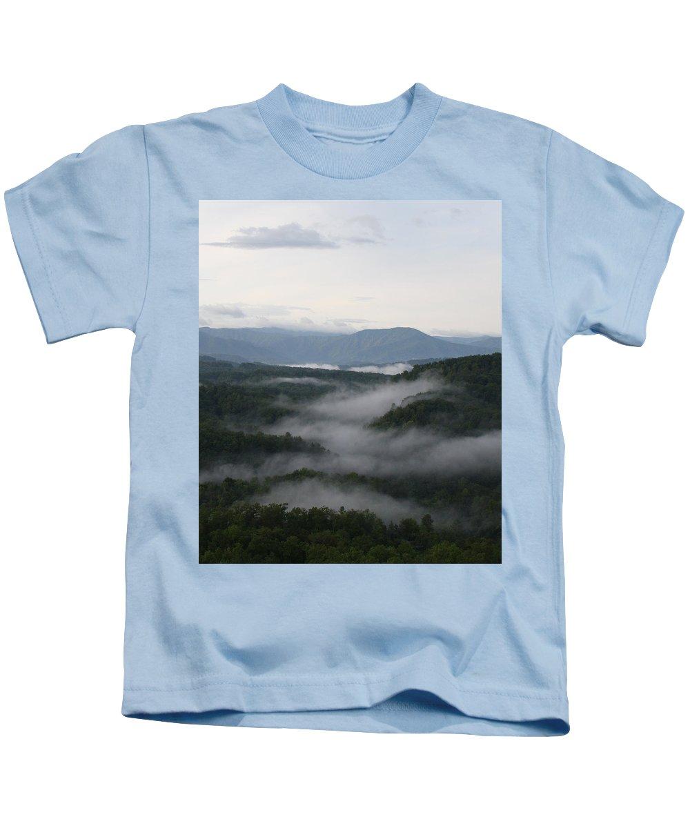 Smoky Mountains Kids T-Shirt featuring the photograph Smoky Mountain Mist by Dan McCafferty