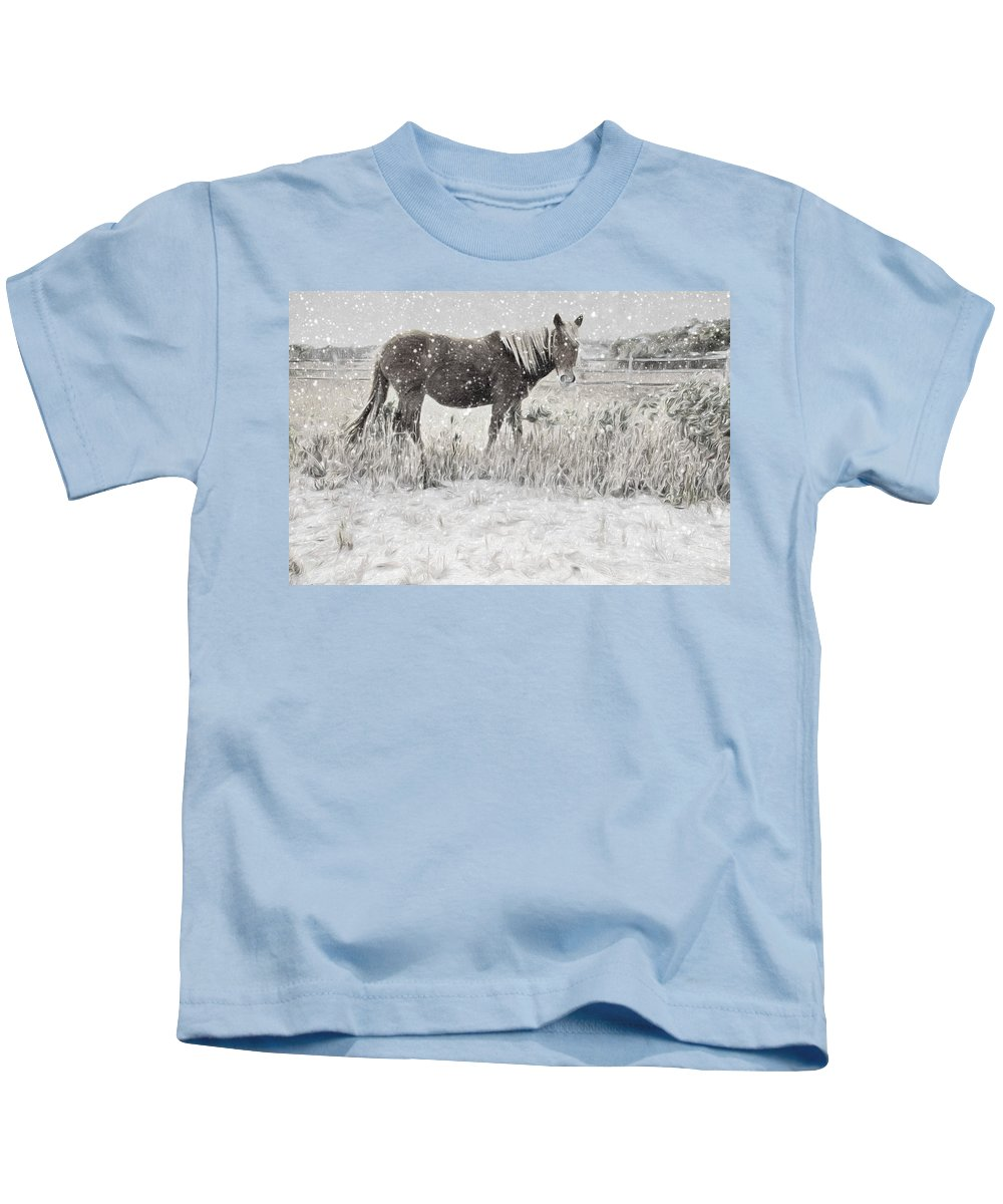 Wild Horse Kids T-Shirt featuring the photograph Snow By The Beach by Alice Gipson