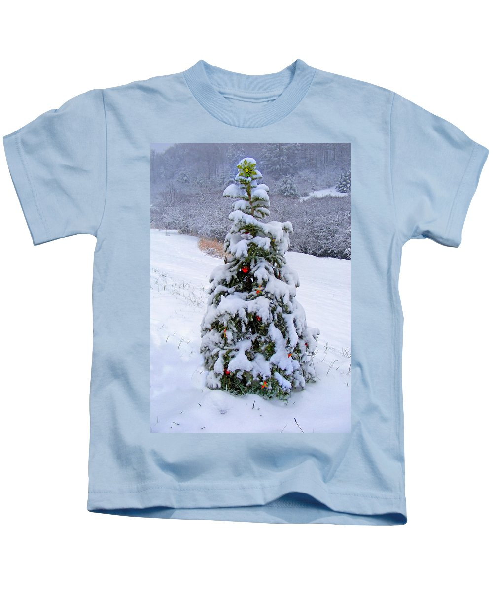 Winter Kids T-Shirt featuring the photograph Snow On Christmas Tree by Duane McCullough