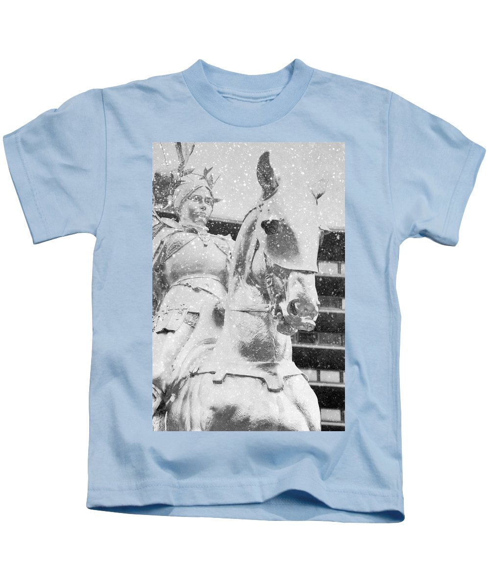 The Philadelphian Kids T-Shirt featuring the photograph Snow On The Philadelphian by Alice Gipson
