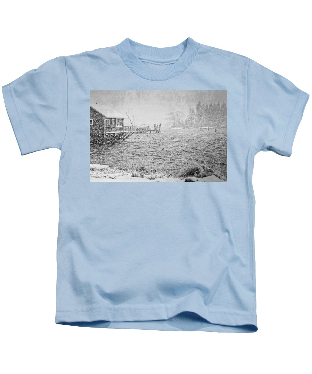 Winter Kids T-Shirt featuring the photograph Snow Storm In Bass Harbor On Mount Desert Island Maine by Keith Webber Jr