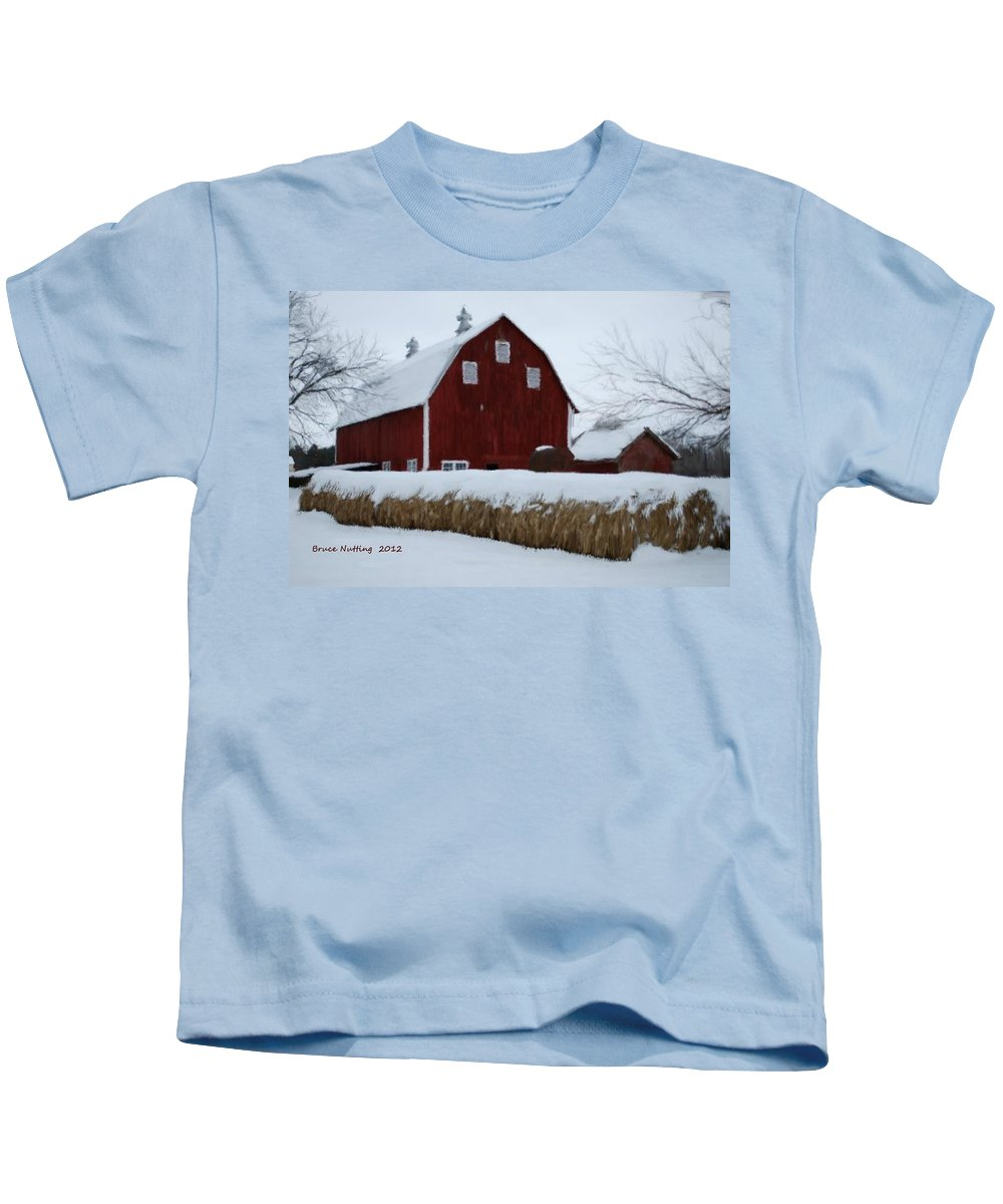 Barn Kids T-Shirt featuring the painting Snowed In Barn by Bruce Nutting