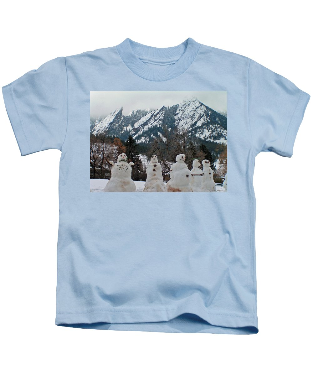Snowman Winter Snow Nature Flatirons Boulder Colorado Rocky Mountains Nature Chautauqua Kids T-Shirt featuring the photograph Flatiron Snowmen. by George Tuffy