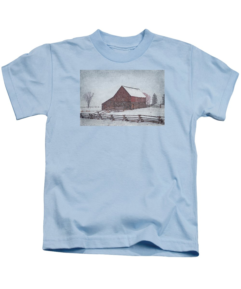 Barn Kids T-Shirt featuring the photograph Snowstorm At The Ranch 2 by Priscilla Burgers