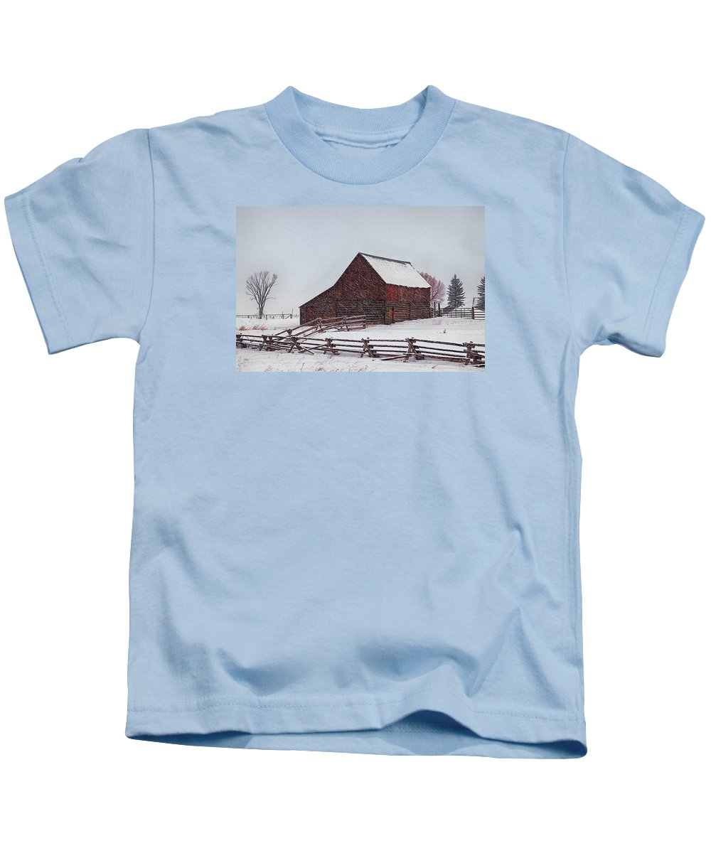 Barn Kids T-Shirt featuring the photograph Snowstorm At The Ranch by Priscilla Burgers