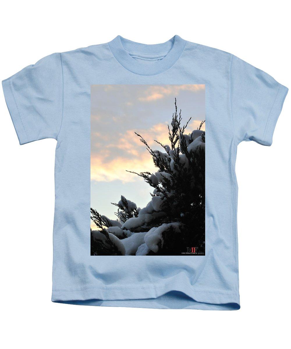 Michael Frank Jr Kids T-Shirt featuring the photograph Snowvember Sunrise by Michael Frank Jr