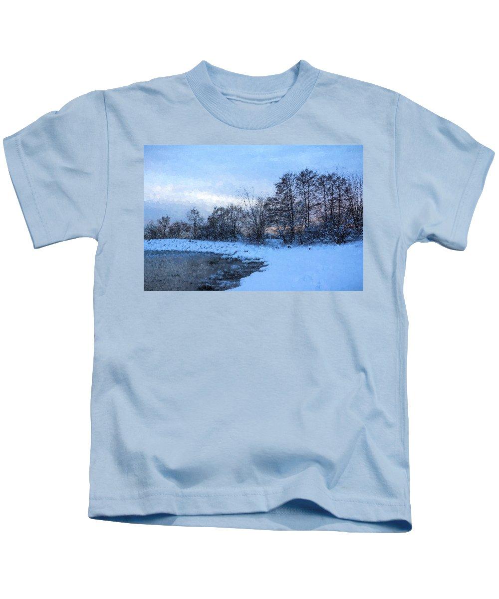 Georgia Mizuleva Kids T-Shirt featuring the digital art Snowy Beach Impressions by Georgia Mizuleva
