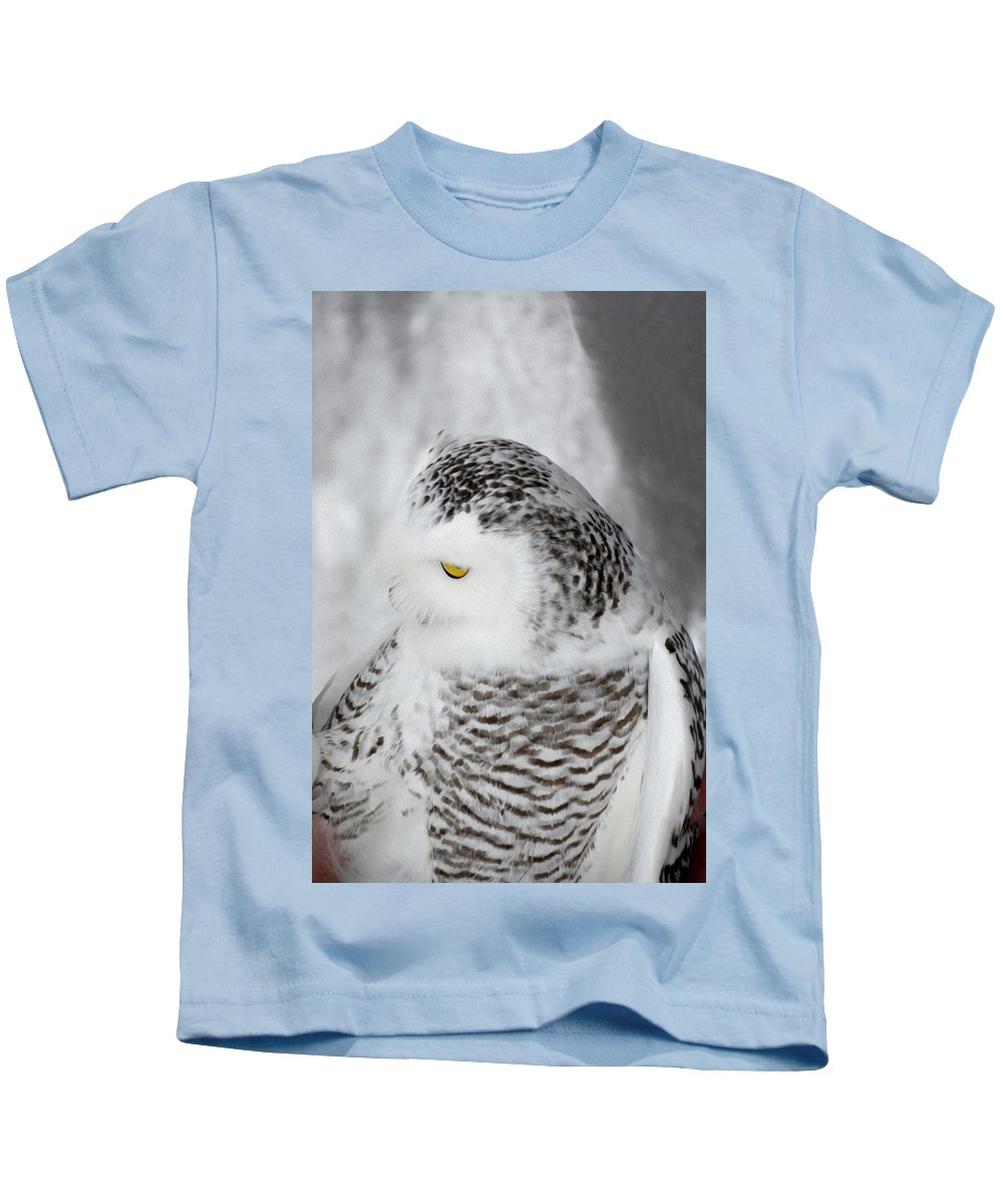 Snowy Owl Kids T-Shirt featuring the photograph Snowy Owl 2 by Tracy Winter