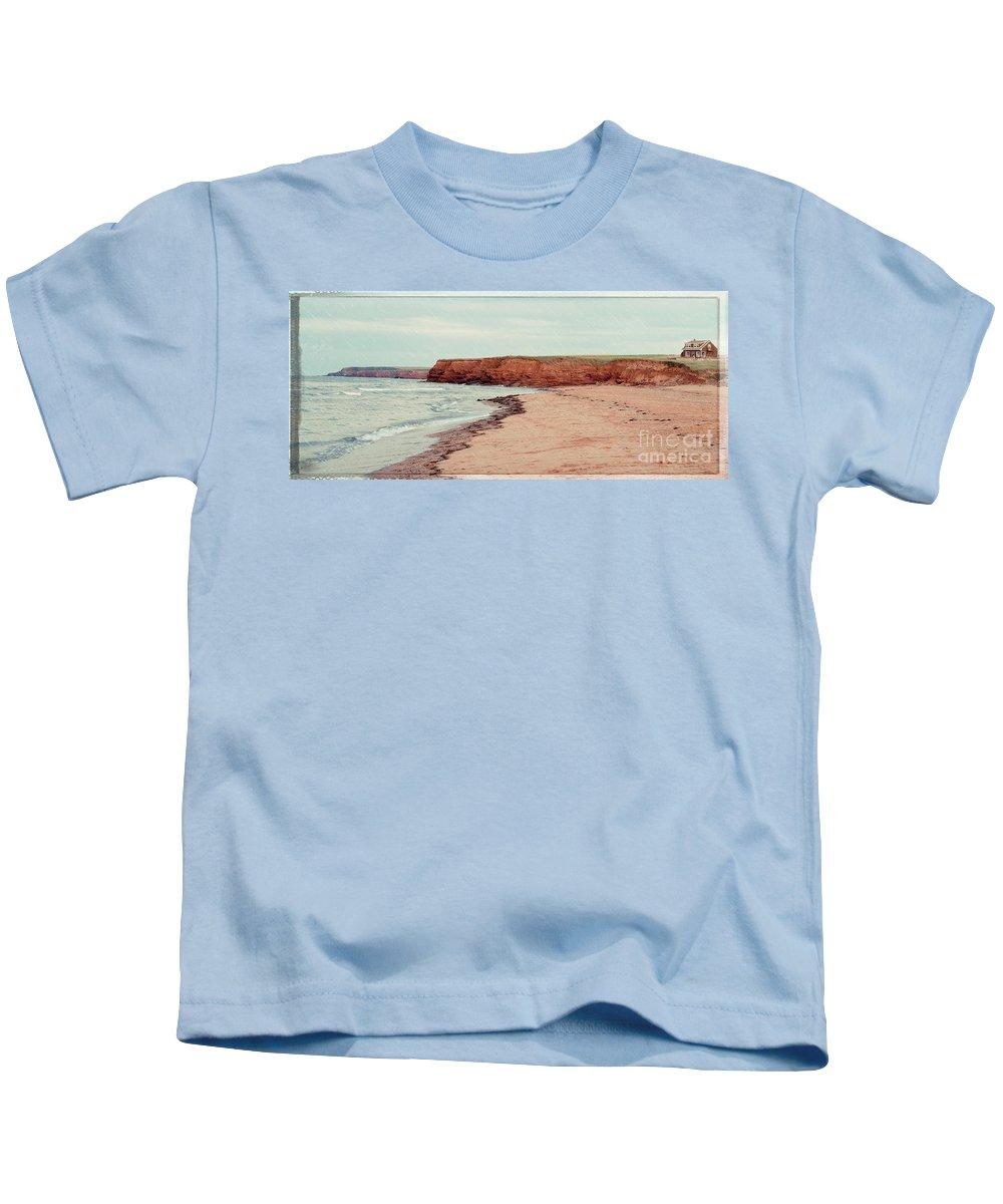 Rain Kids T-Shirt featuring the photograph Soft Rain On The Beach by Edward Fielding