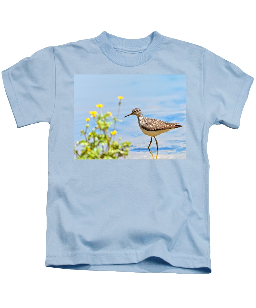 Solitary Sandpiper Kids T-Shirt featuring the photograph Solitary Sandpiper by Melinda Fawver
