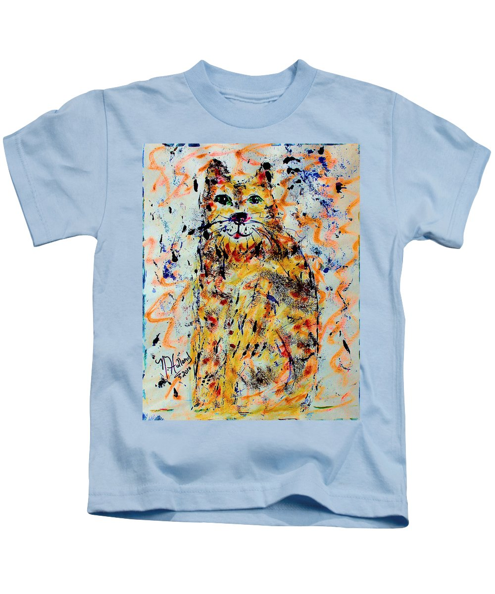 Expressionism Kids T-Shirt featuring the painting Sophisticated Cat 3 by Natalie Holland