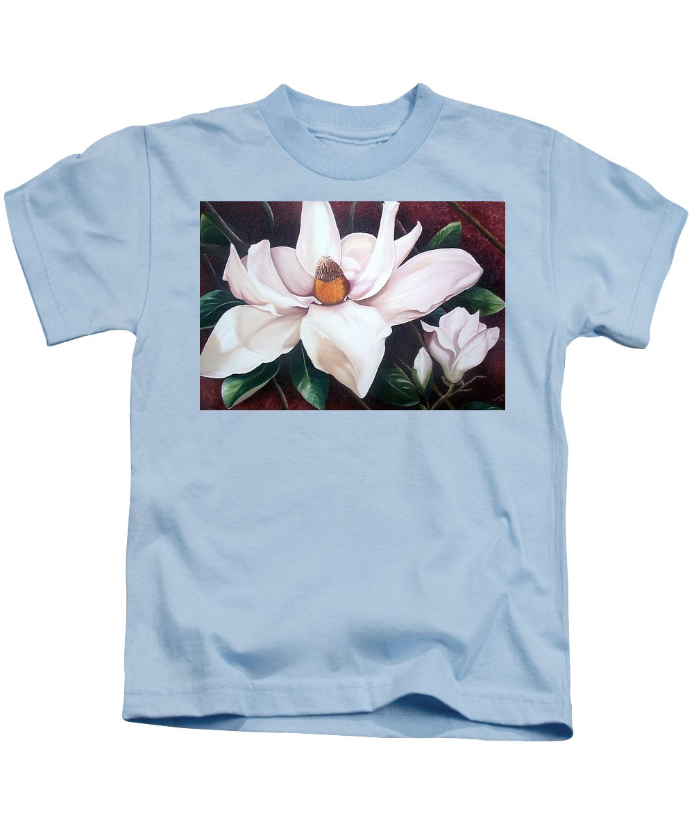 Magnolia Southern Bloom Floral Botanical White Kids T-Shirt featuring the painting Southern Beauty by Karin Dawn Kelshall- Best