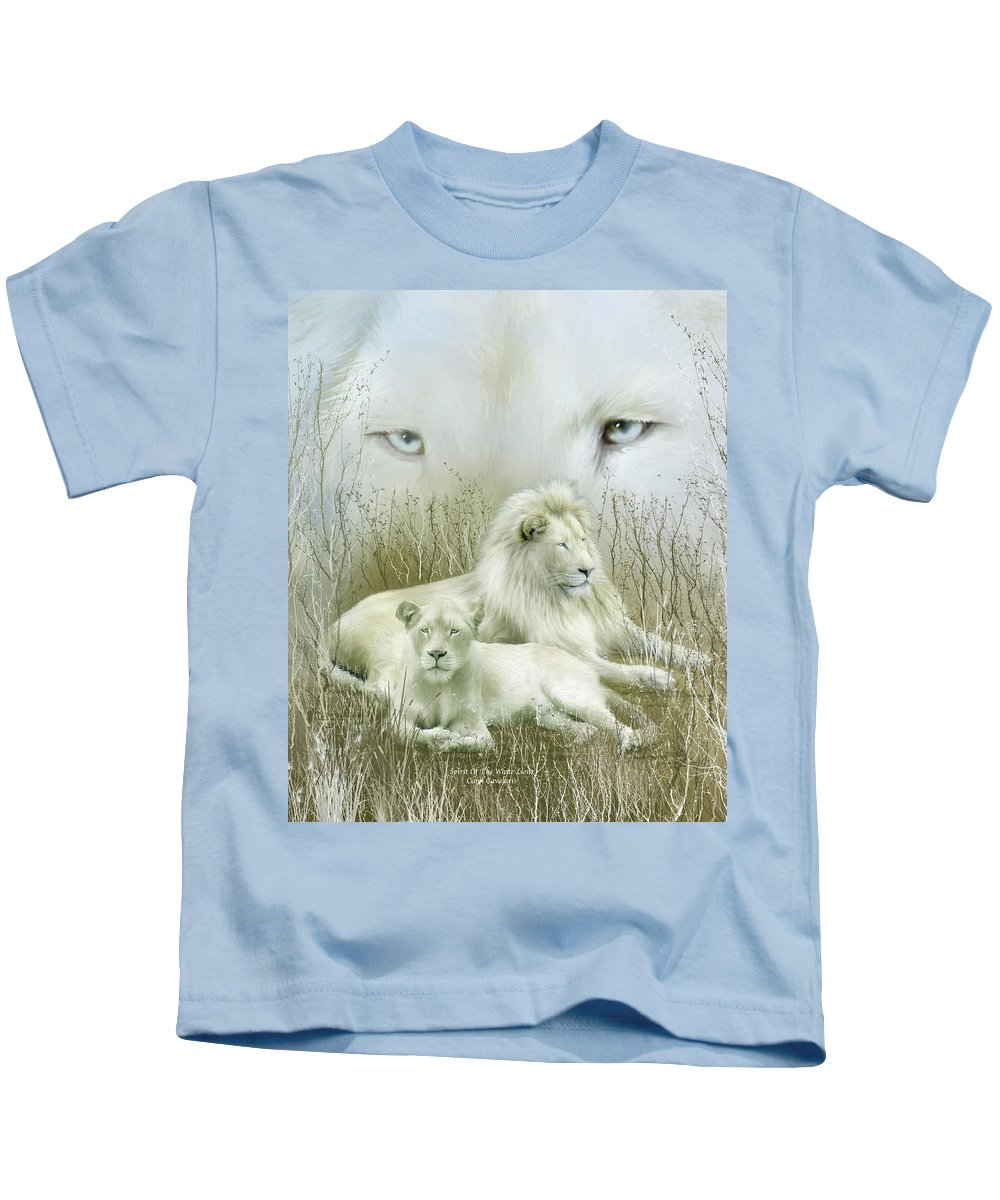 Lion Kids T-Shirt featuring the mixed media Spirit Of The White Lions by Carol Cavalaris
