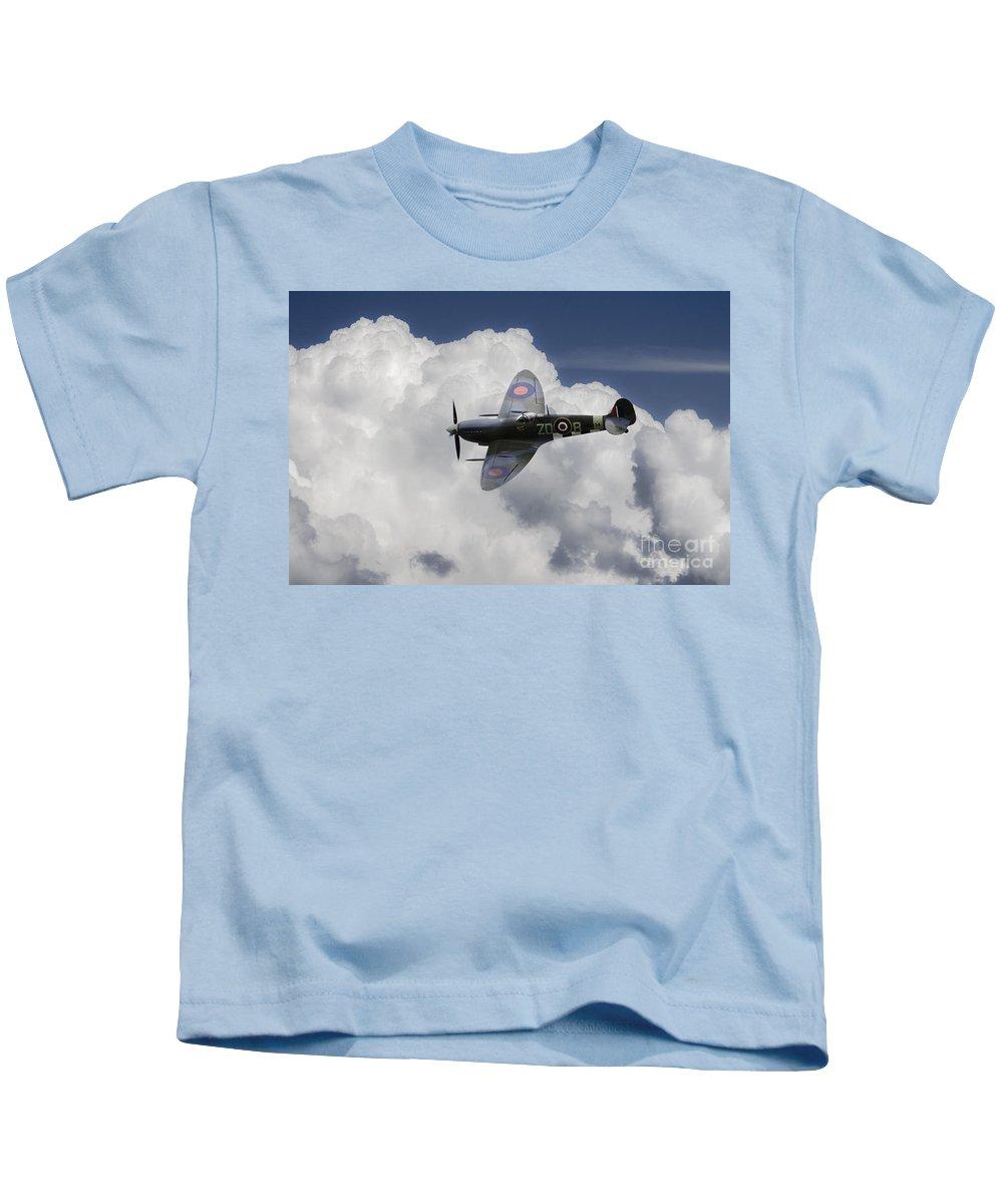 Supermarine Spitfire Kids T-Shirt featuring the digital art Spitfire Mk Ixb by J Biggadike