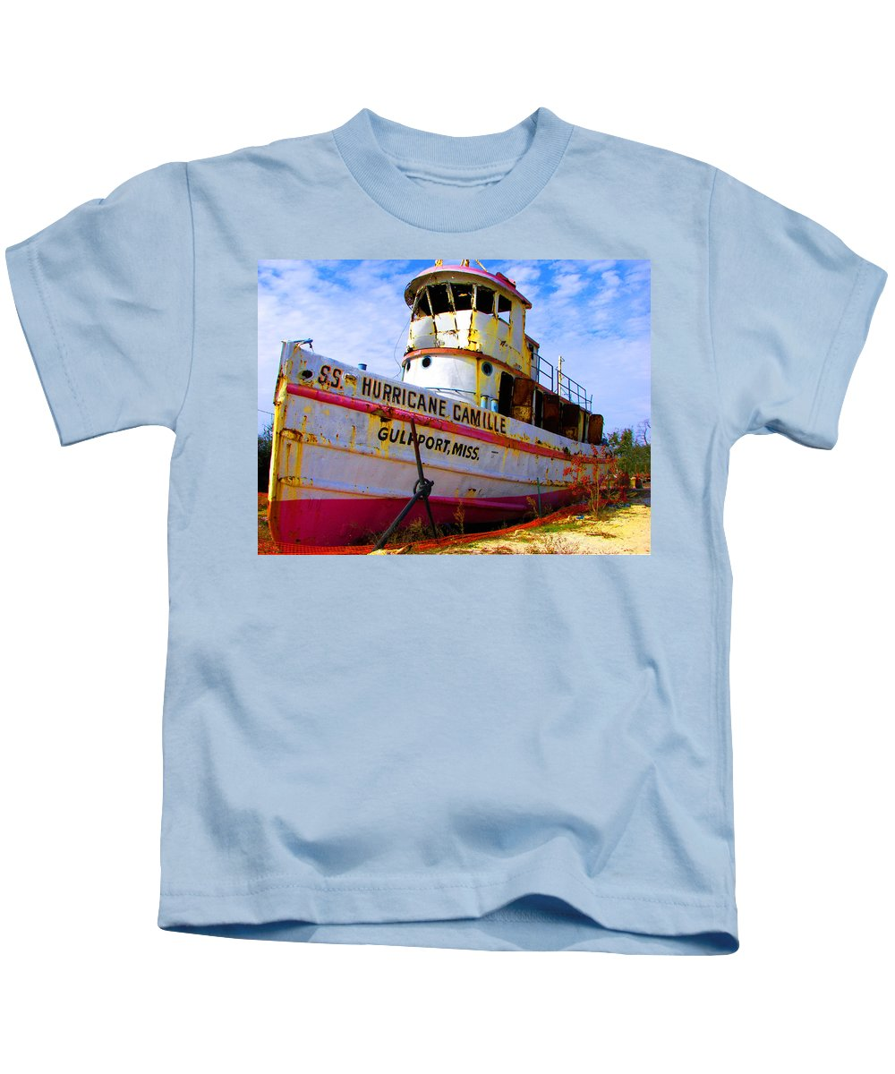 Rebecca Korpita Kids T-Shirt featuring the photograph Ss Hurricane Camille Tugboat by Rebecca Korpita