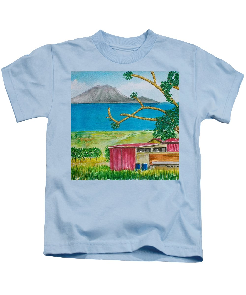 Caribbean St Eustatis St. Kitts Volcano Island Red Shed Slope Weird Trees Kids T-Shirt featuring the painting St. Eustatis From St. Kitts by Frank Hunter