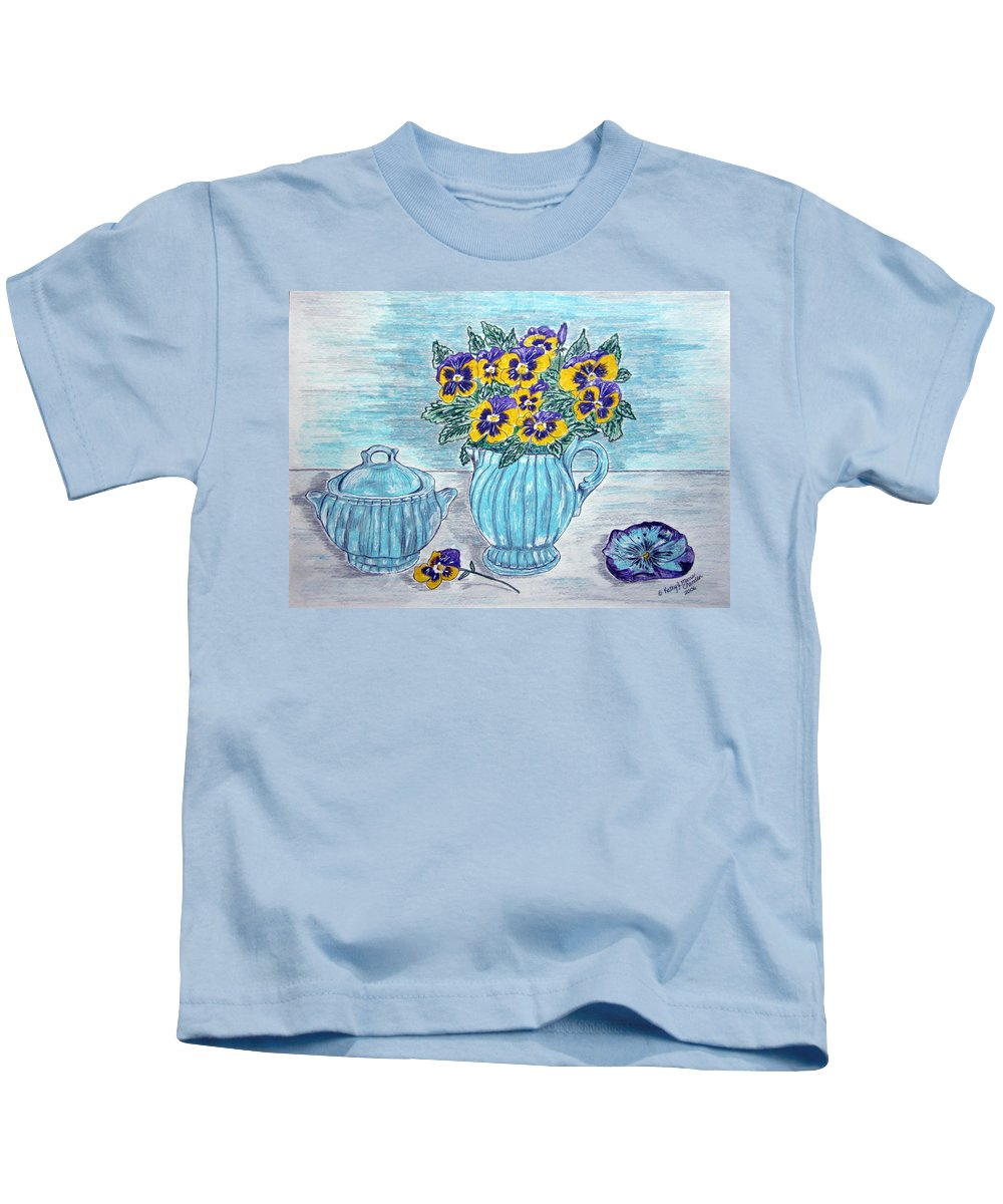 Stangl Pottery Kids T-Shirt featuring the painting Stangl Pottery And Pansies by Kathy Marrs Chandler