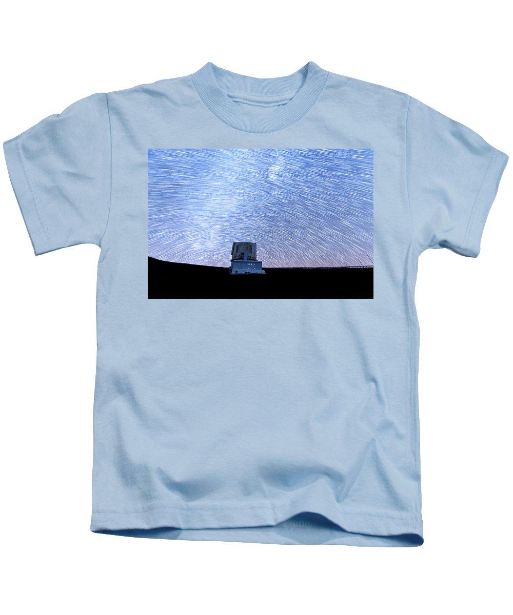 Big Island Kids T-Shirt featuring the photograph Star Trails Above Subaru Telescope by Jason Chu