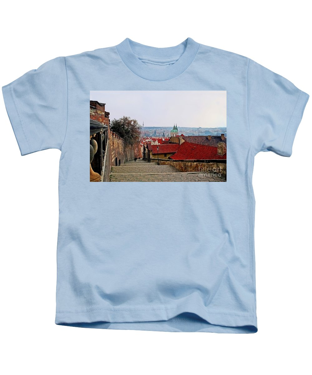 Travel Kids T-Shirt featuring the photograph Steps Of Prague by Elvis Vaughn