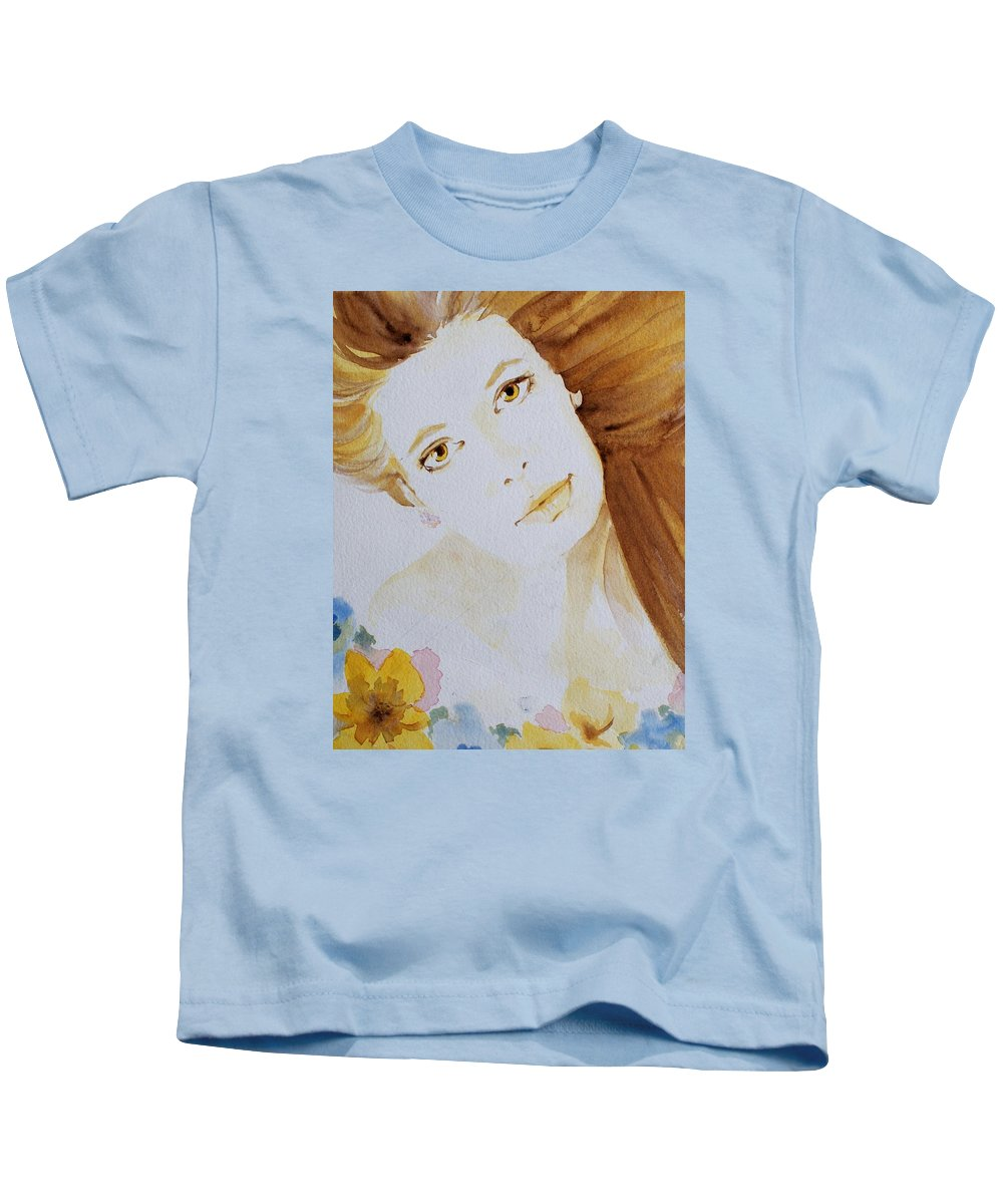 Watercolour Kids T-Shirt featuring the painting Still Waters' Reflection by Janice Gell