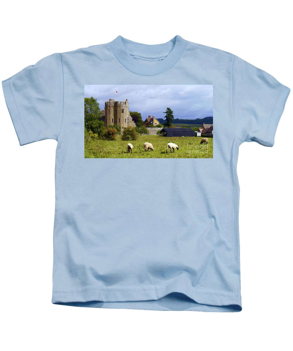 Castle Kids T-Shirt featuring the photograph Stokesay Castle by John Chatterley