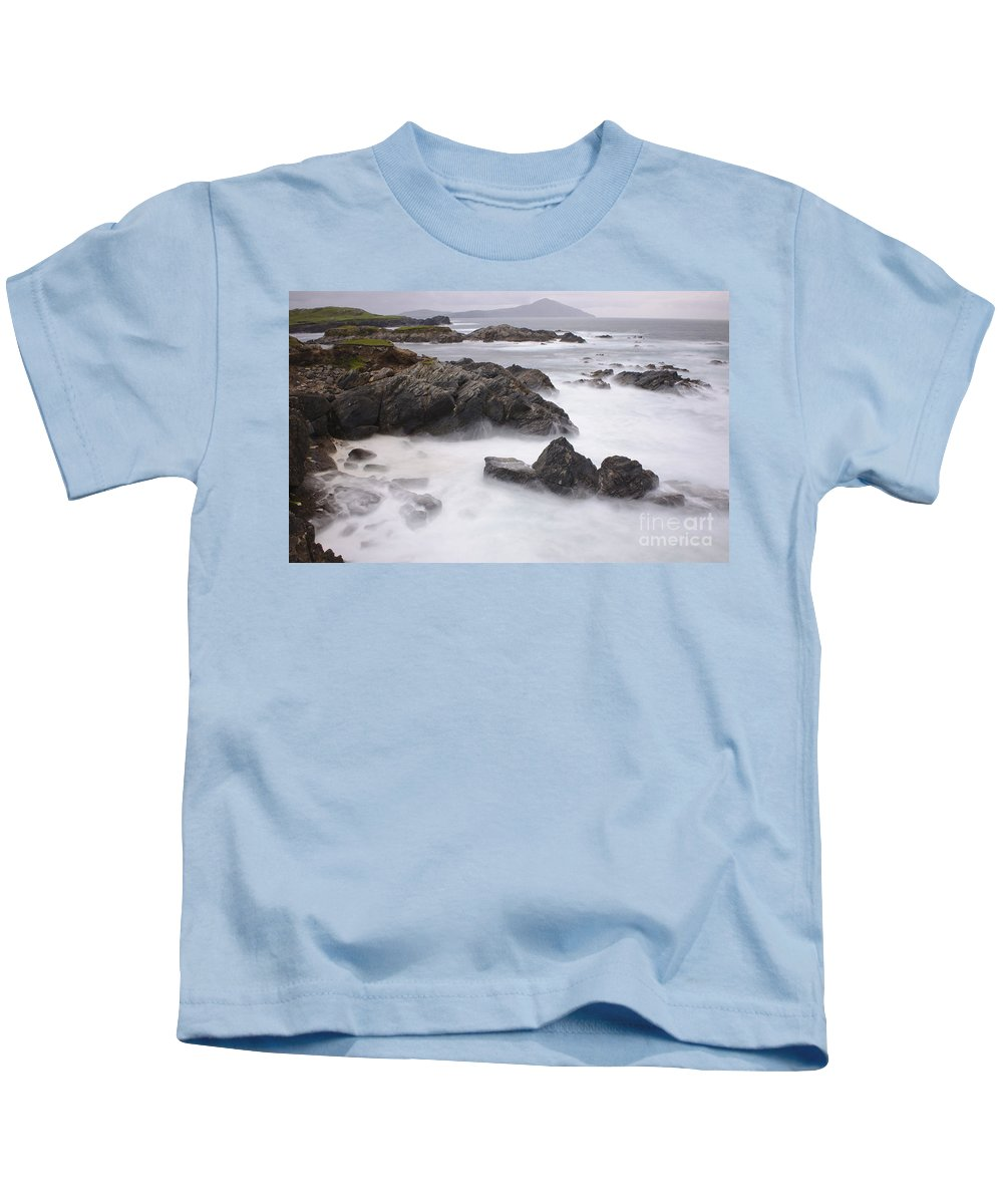 Achill Island Kids T-Shirt featuring the photograph Storm Waves And Cliffs by John Shaw