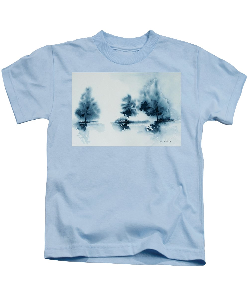 Indigo Kids T-Shirt featuring the painting Study In Indigo by Celene Terry