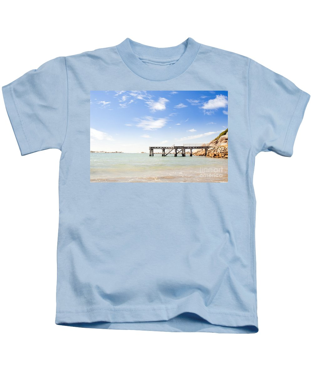 South Australia Kids T-Shirt featuring the photograph Summer Jetty by Tim Hester