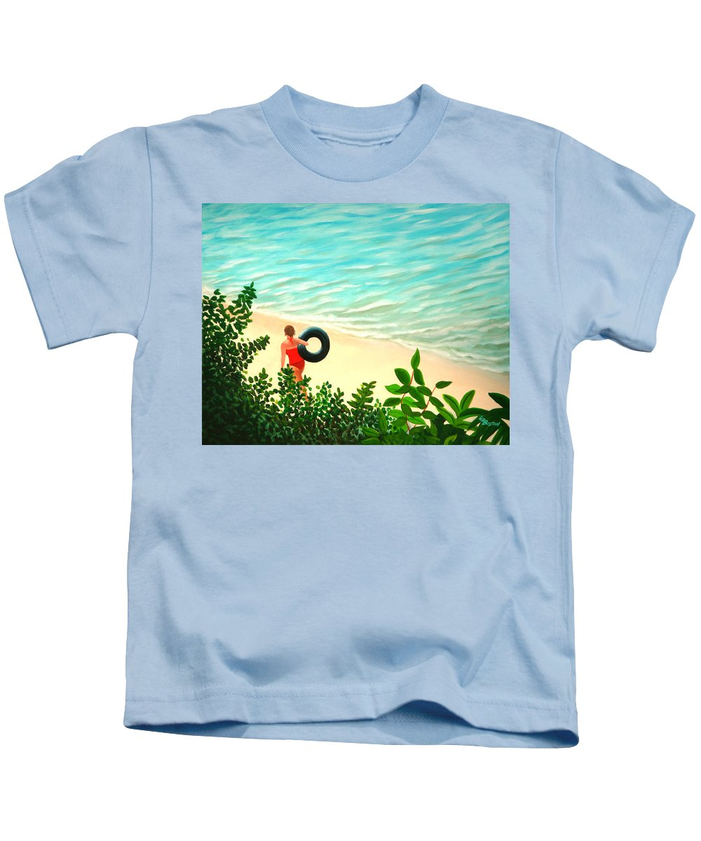 Summer Kids T-Shirt featuring the painting Summer Swim by Liz Boston