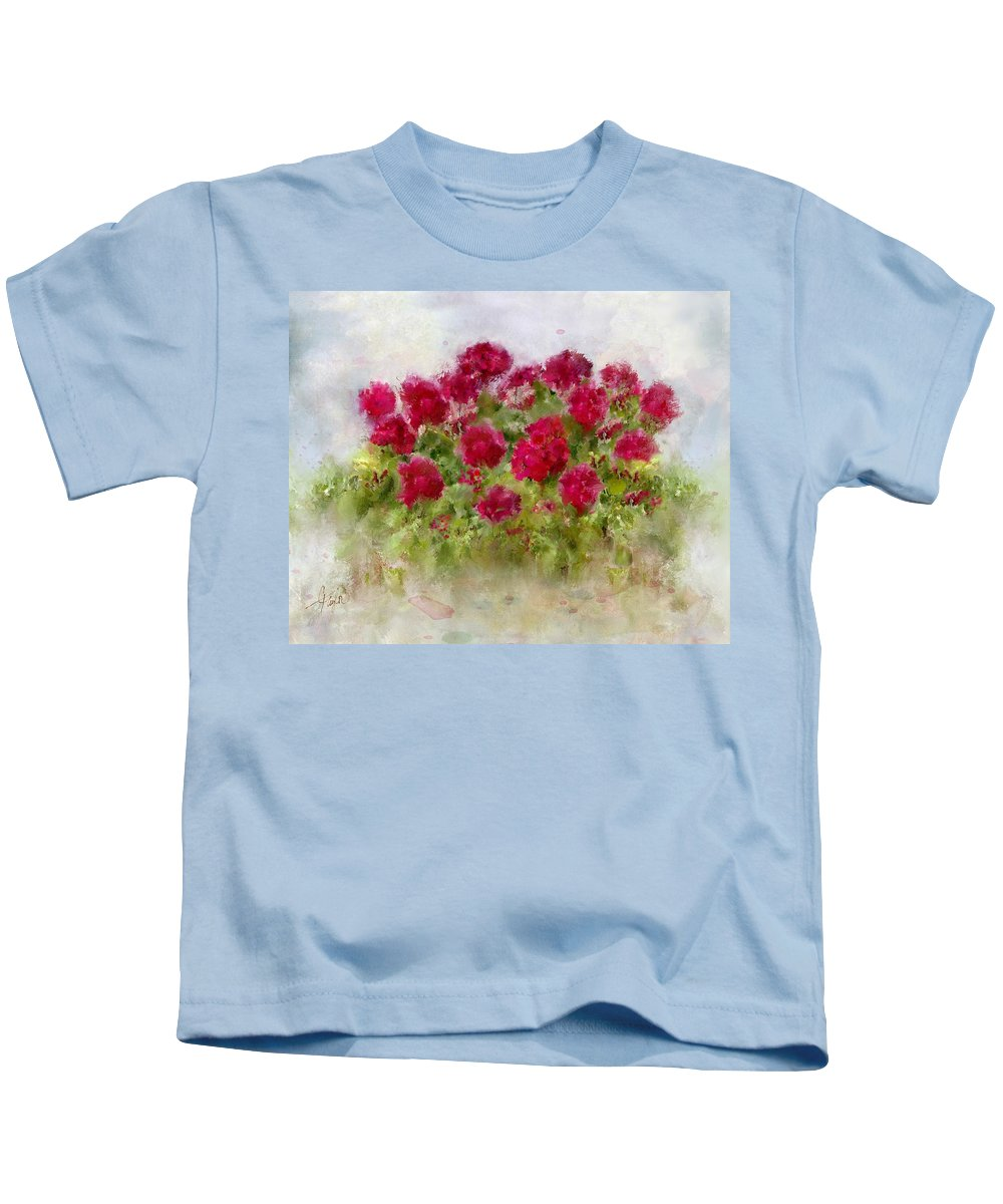 Geraniums Kids T-Shirt featuring the painting Summer's Blush by Colleen Taylor