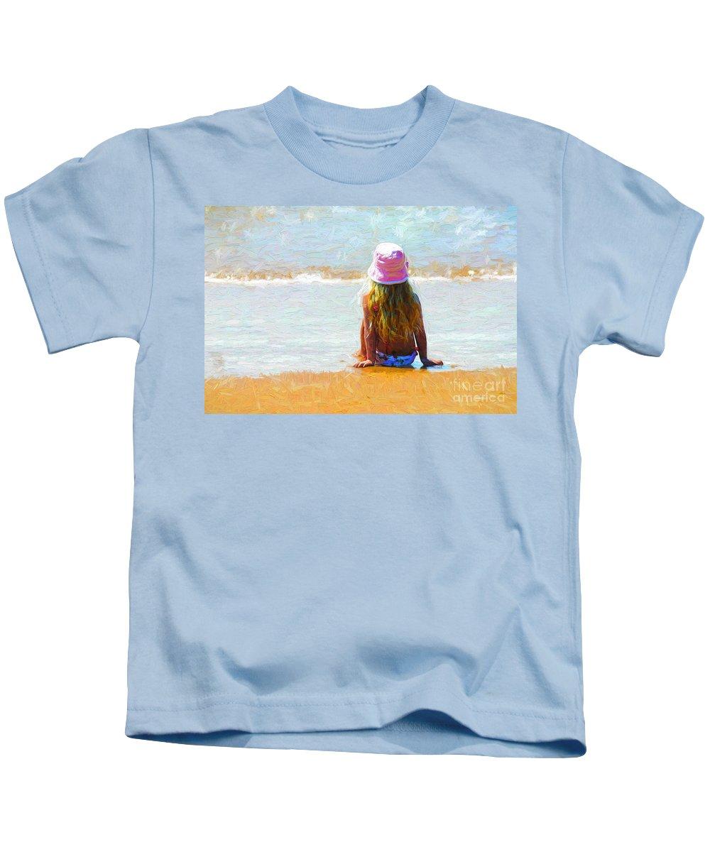 Little Girl On Beach Kids T-Shirt featuring the photograph Summertime by Sheila Smart Fine Art Photography