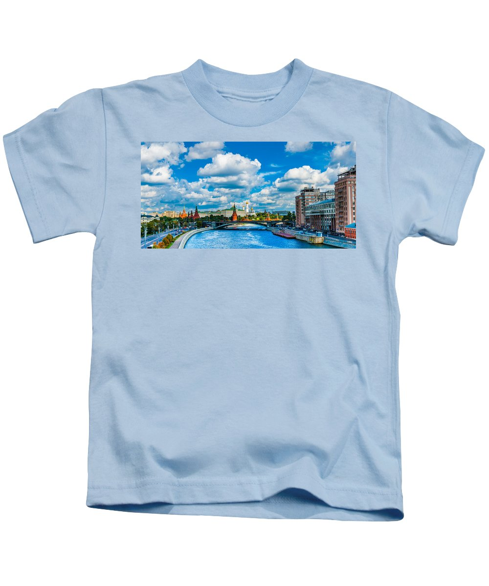 Moscow Kids T-Shirt featuring the photograph Sun Over The Old Cathedrals Of Moscow Kremlin by Alexander Senin